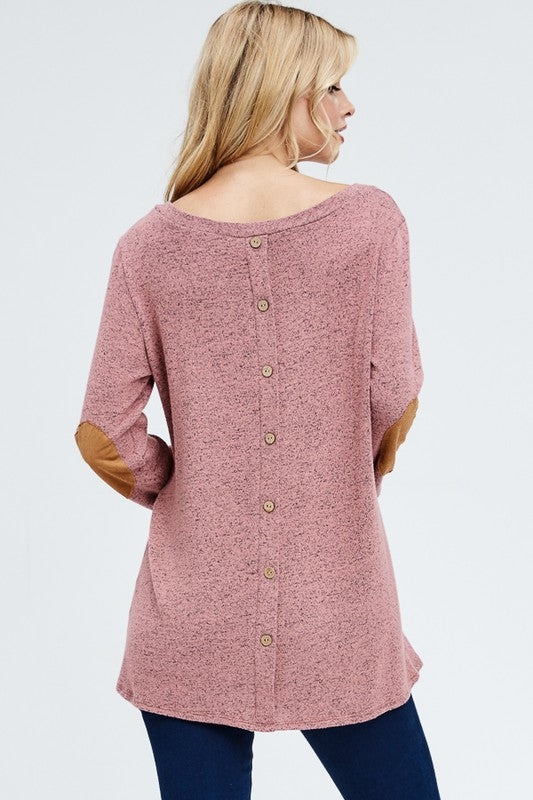 Back Button Sweater - mauve