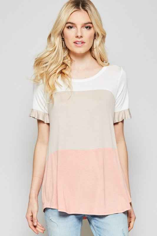 Soft Colorblock Ruffle Top - coral
