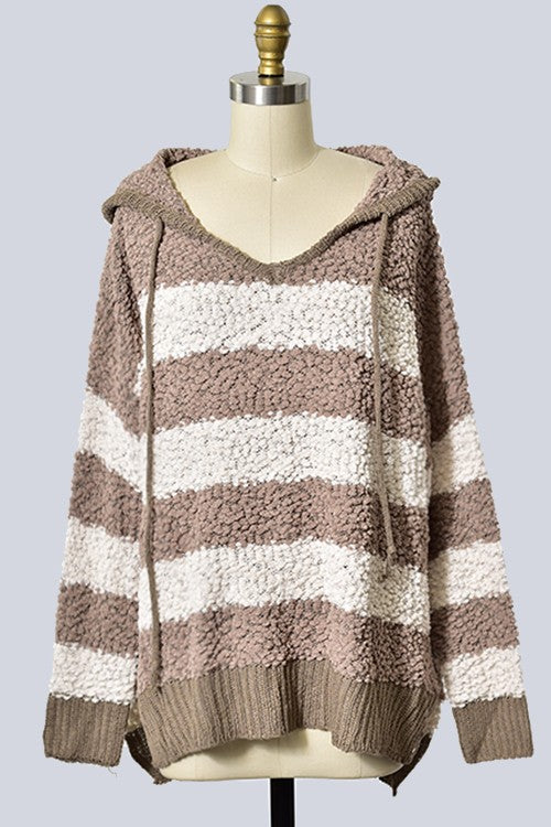 Hooded Popcorn Striped Sweater Pullover - mocha