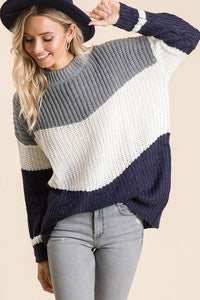 Loose Fit Colorblock Sweater - grey/navy