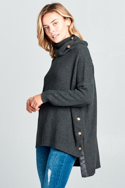 Button Detail Boxy Sweater - charcoal
