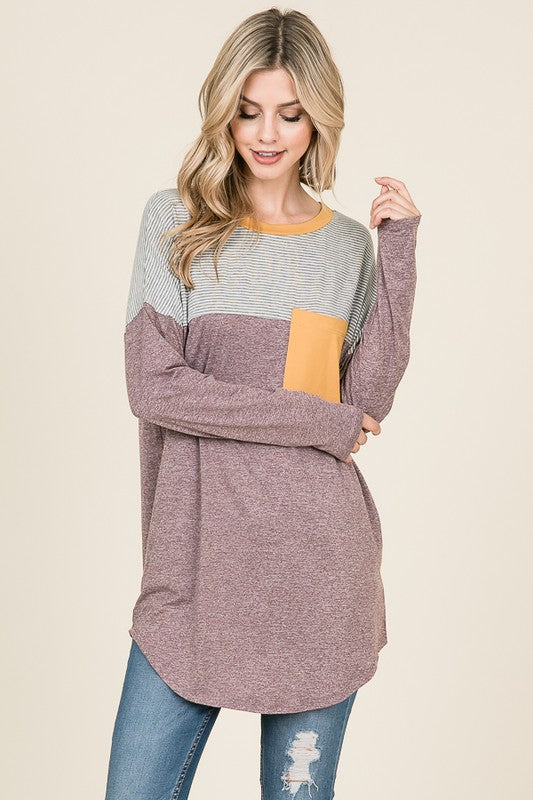 Colorblock Tunic with Pocket - wine/green/mustard