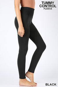 Tummy Control Fleece Leggings - black & plum