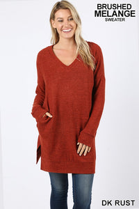 Brushed Melange Sweater - rust