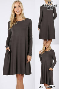 Flare Dress (with pockets - long sleeve) - rust, ash grey, plum, mocha, olive