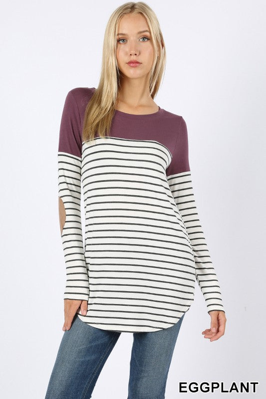 Striped Contrast Top - eggplant