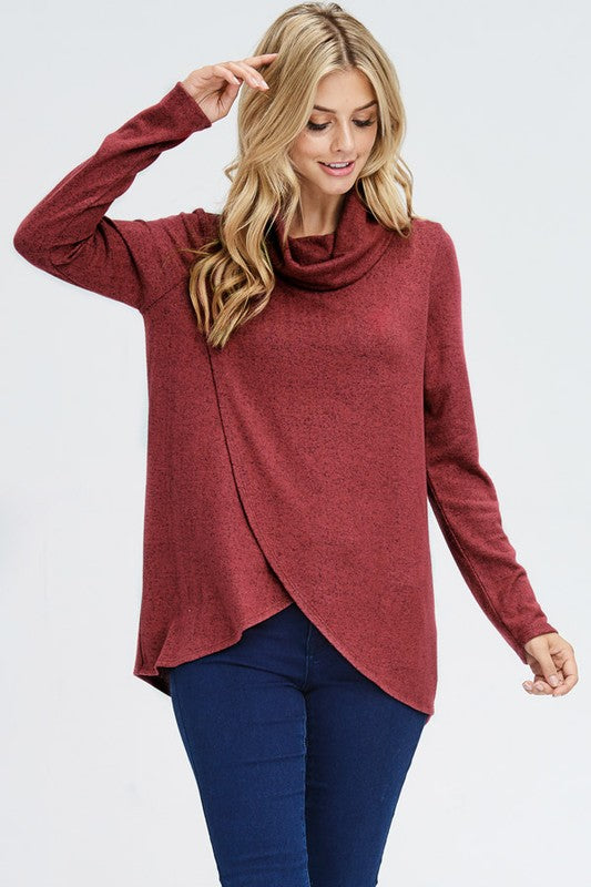 Cowl Neck Sweater - rust