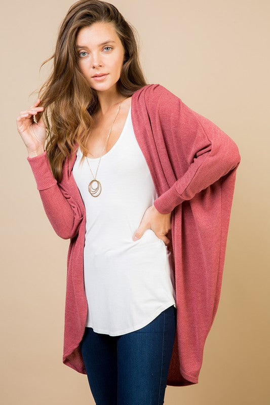 Open Front Circle Cardigan - peach and mauve