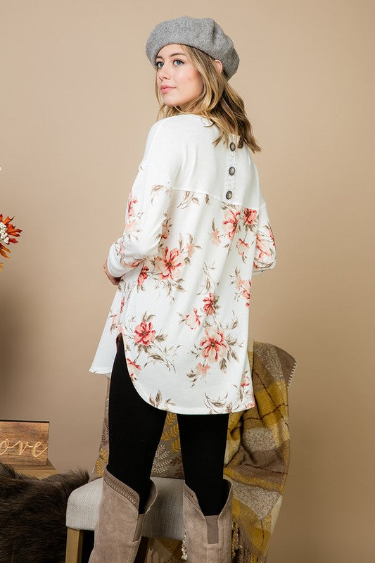 Floral Hacci Contrast Top - ivory/blush