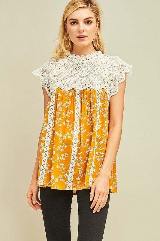 Mustard Mock-neck Top - floral/chochet