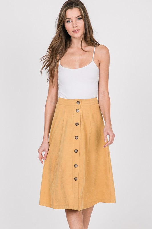 Button-detailed Swing Skirt - yellow