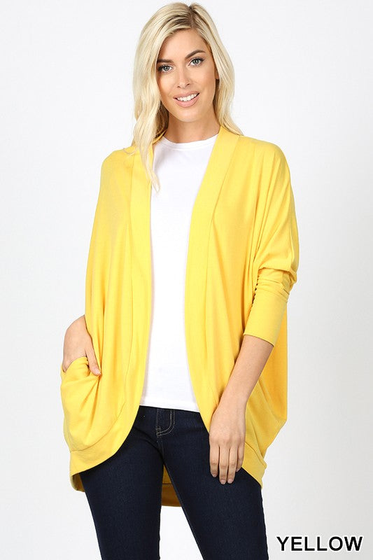 Cocoon Wrap Cardigan - coral and yellow