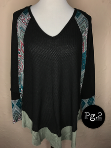 Scarf-print Colorblock Top - black
