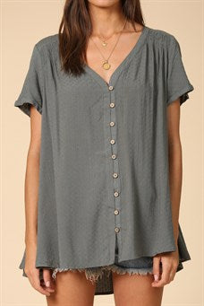 Dotted and Smocked Tunic - dark sage
