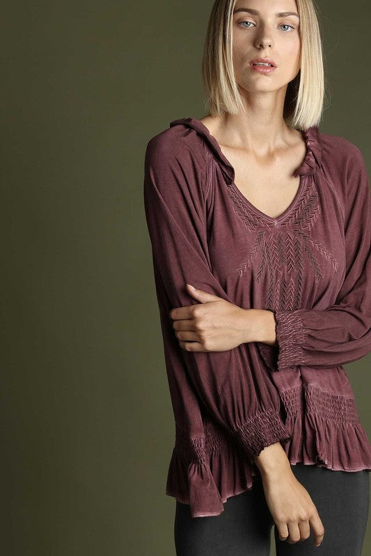 Embroidered Smocking Top - burgundy
