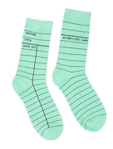 Library Card Socks - Mint
