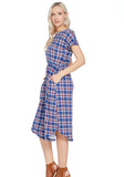 Plaid Dress - navy