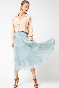 Dotted Swiss Tiered Skirt - dusty blue