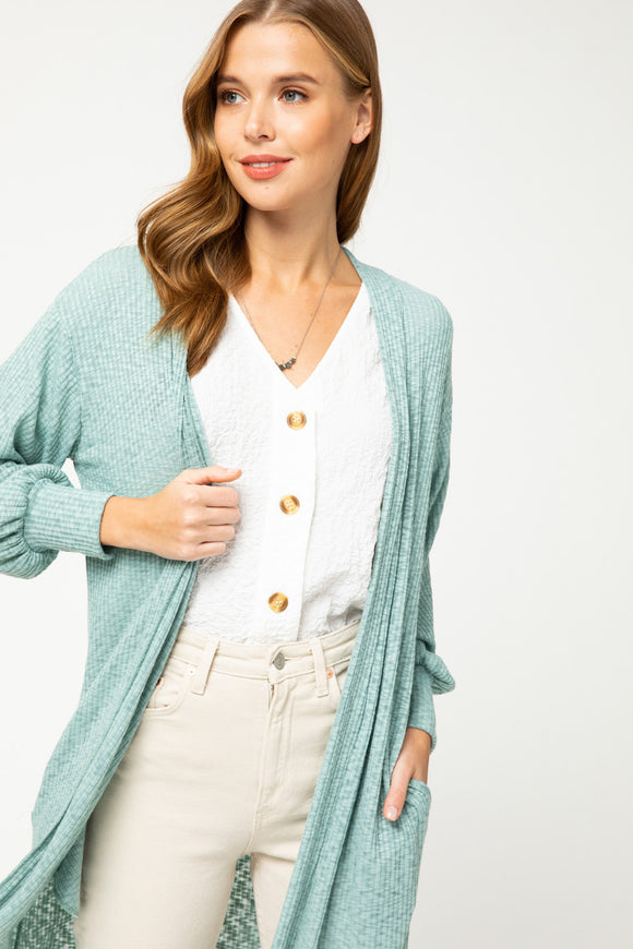 Ribbed Open Front Cardigan - mint