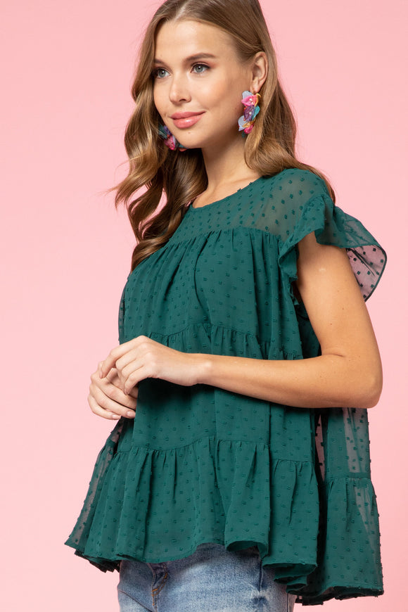 Dotted-Swiss Smock Top - hunter green