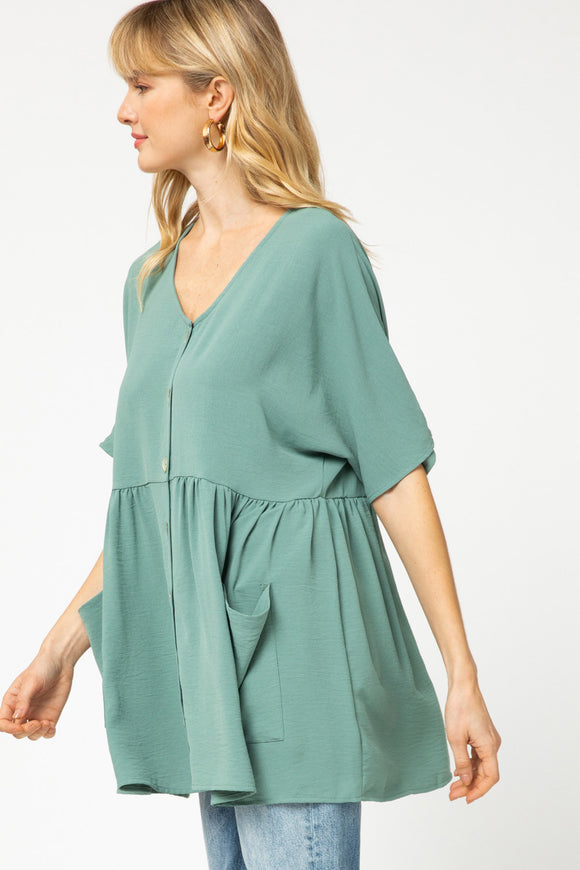 Button-up Pocket Top - sage