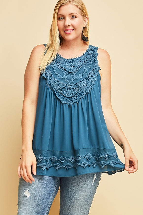 Flowy Lace Top - wine, black, teal