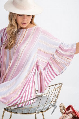 Vertical Stripe Bell Sleeve Top - mauve