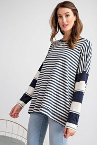 Striped Colorblock Loose Fit Top - faded navy