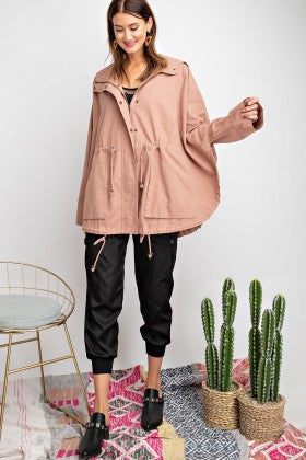 Loose Fit Twill Jacket - blush