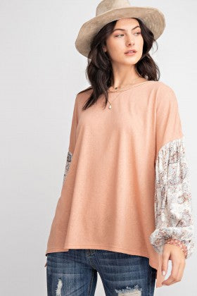 Mix Match Bubble Sleeve Top - rose