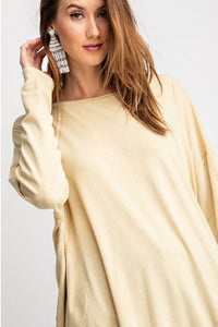 Oversized Knit Tunic - mustard
