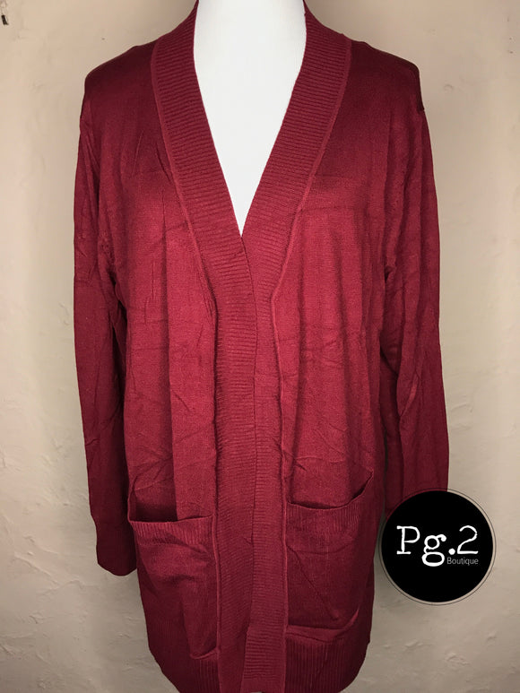 Average Jane Cardigan - cabernet red