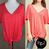 Button-up Goodness Top - coral