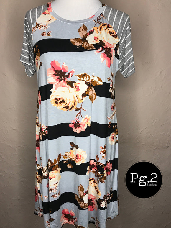 Striped Floral Dress/Tunic - navy