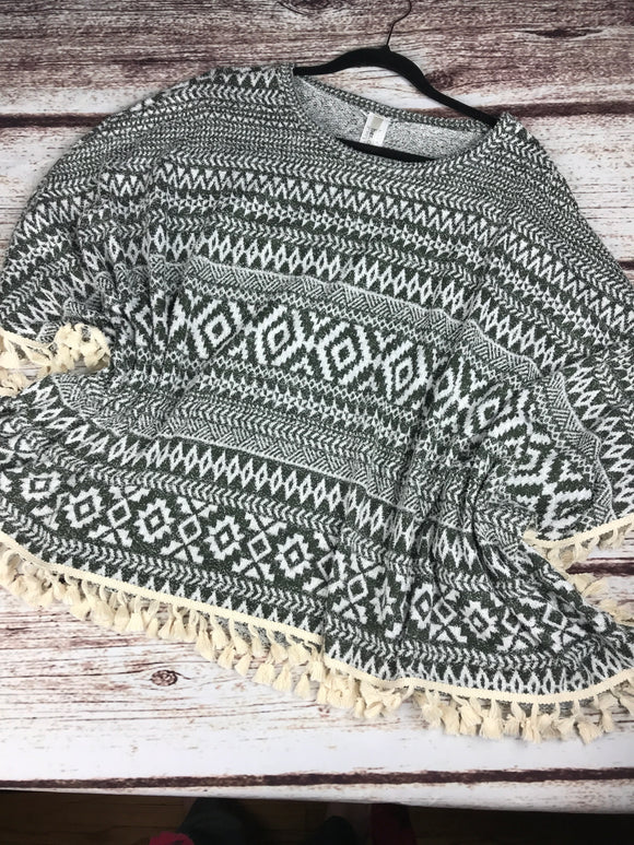 Poncho Goodness - green/ivory