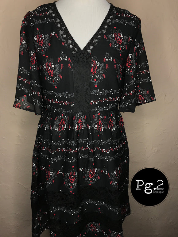 Fun and Flirty Dress - black/floral