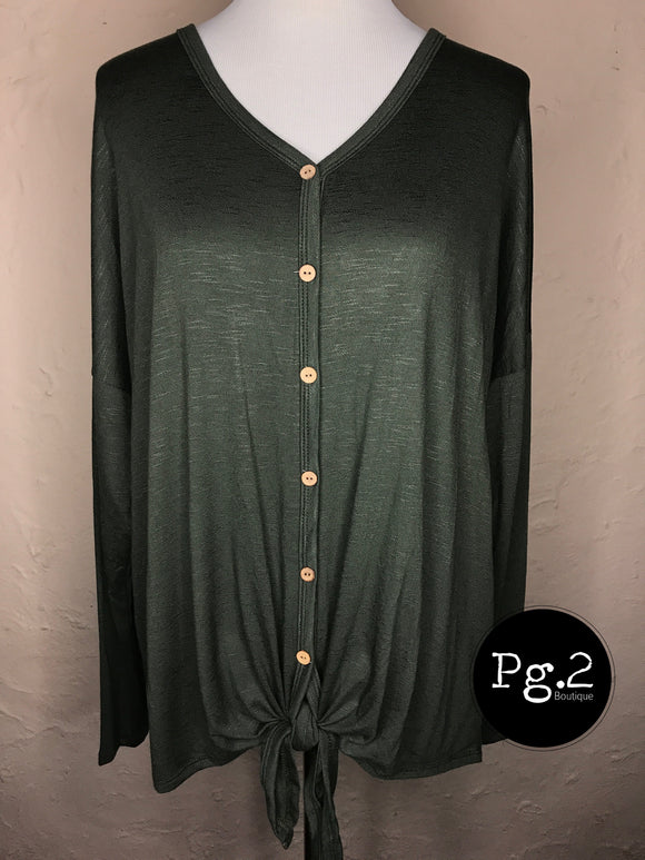 Tie Front Slouchy Top - olive