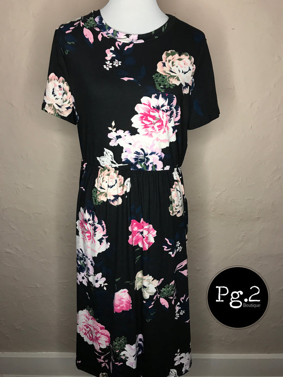 Floral Midi Dress (Curvy) - Black