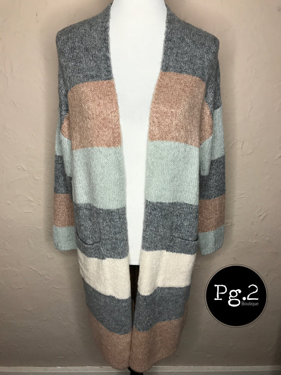 All about that Striped Cardigan - pastel