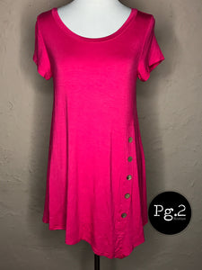 Asymmetrical Button Top - hot pink