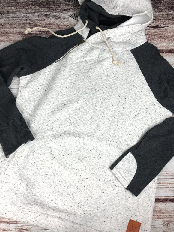 DoubleHood Sweatshirt - heathered grey/charcoal