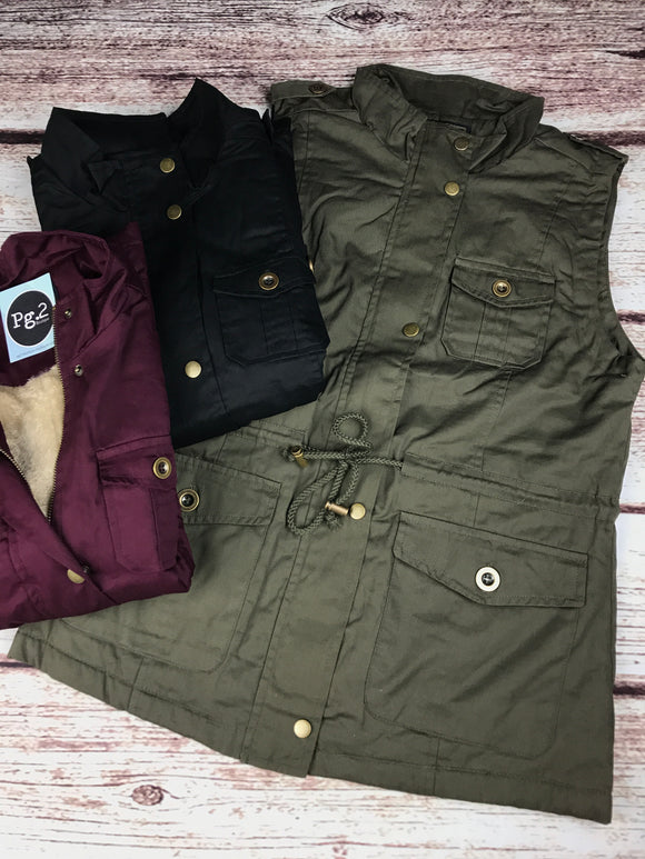 Basic Vest - Black, mulberry, or olive