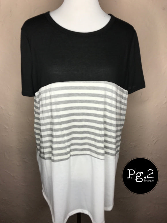 Colorblock Top - black/gray