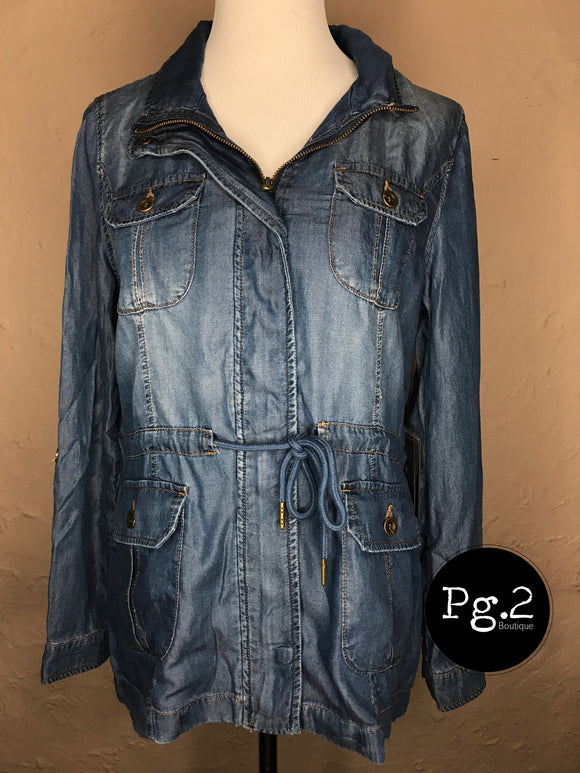 Zippered Jacket - dark wash