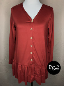 Double Ruffle Top - rust