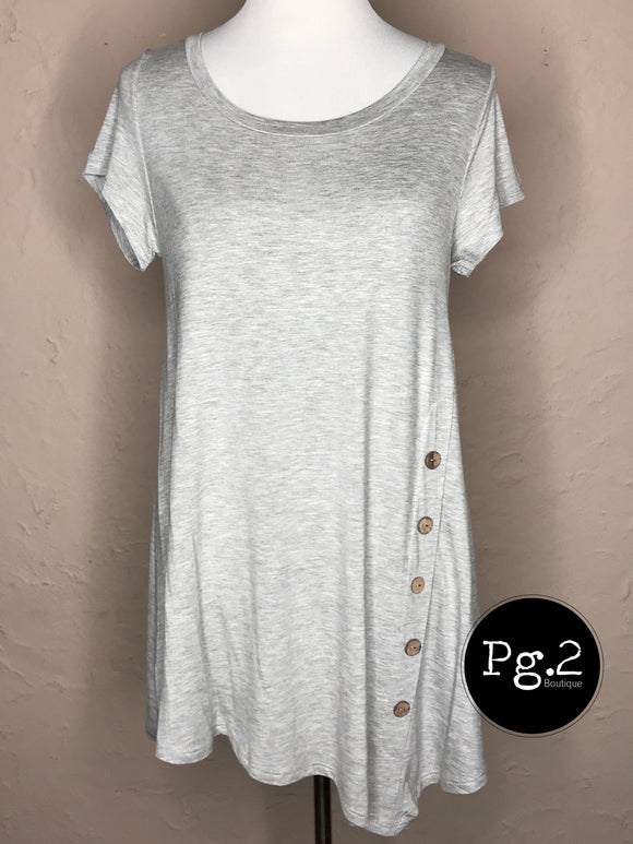 Asymmetrical Button Top - heather grey