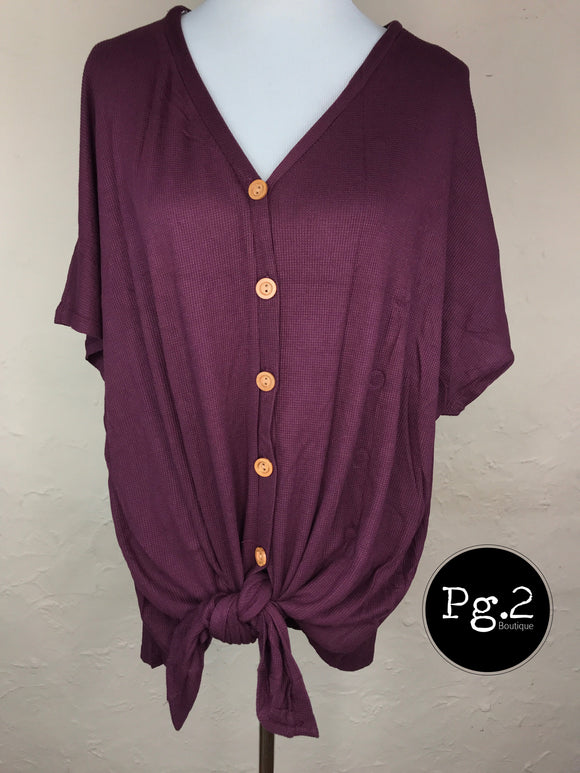 Button-up Goodness Top - wine