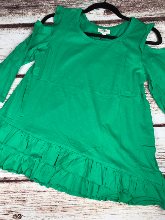 Sweet Ruffle Cold Shoulder - kelly green