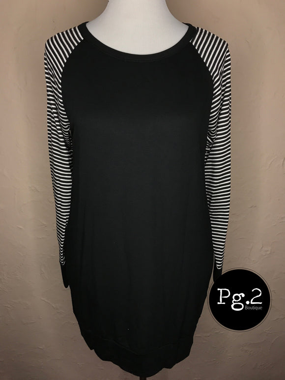 French Terry Contrast Top - black/white