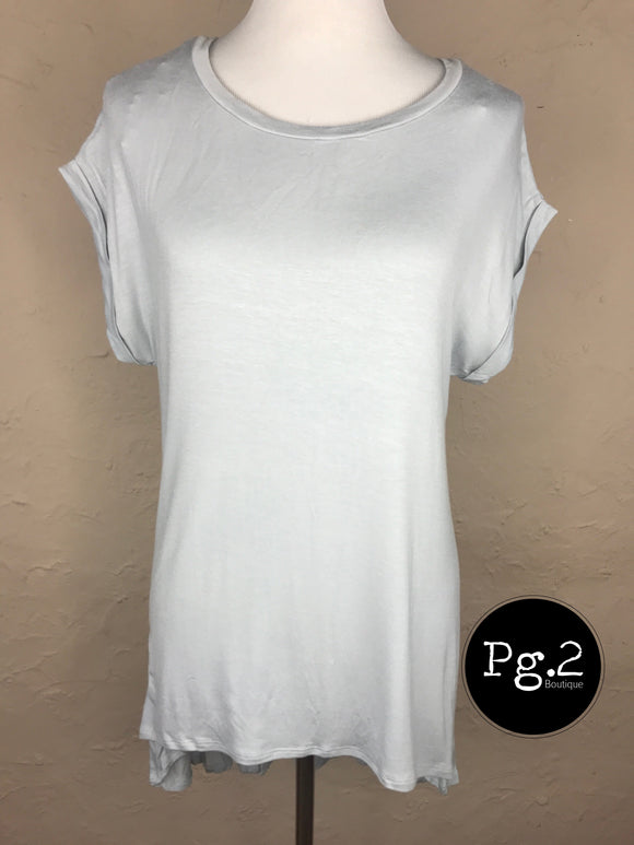 Split Dolman Top - gray mist